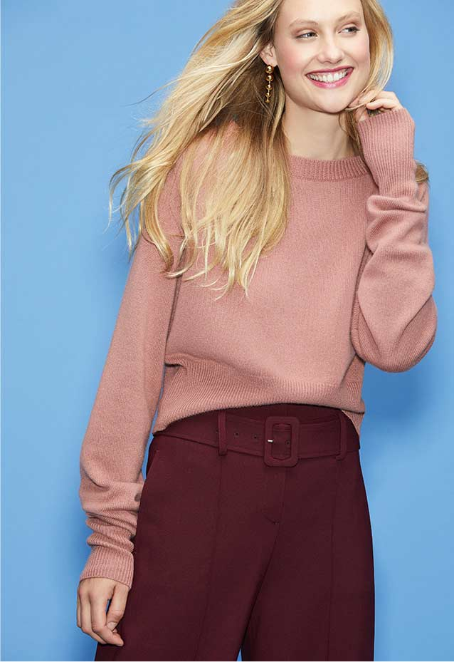 Relaxed Cashmere Sweater + Belted Pants