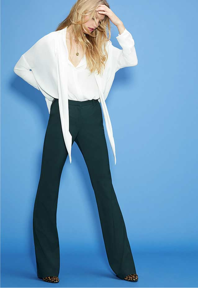 Silk Tie-Scarf Blouse + Stretch-Wool Pants