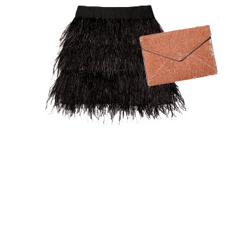Milly - Feather Mini Skirt | Rebecca Minkoff - Velvet Clutch
