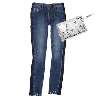Paige - Side Stripe Jeans | Paco Rabanne - Mirrored Clutch
