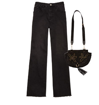 Robert Rodriguez - Wide-Leg Jeans | See by Chloe - Studded Suede Bag