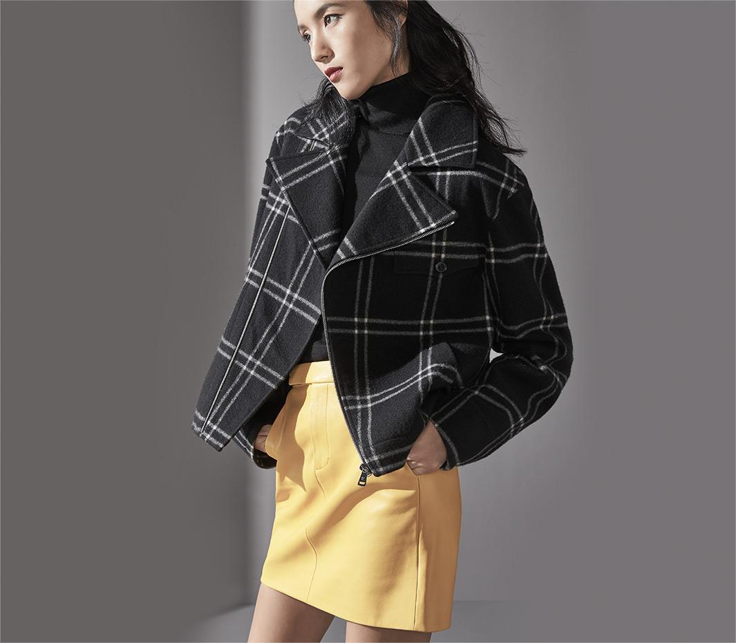 20fd3ec77 Windowpane-Plaid Jacket, Cashmere Turtleneck Sweater + Leather Skirt