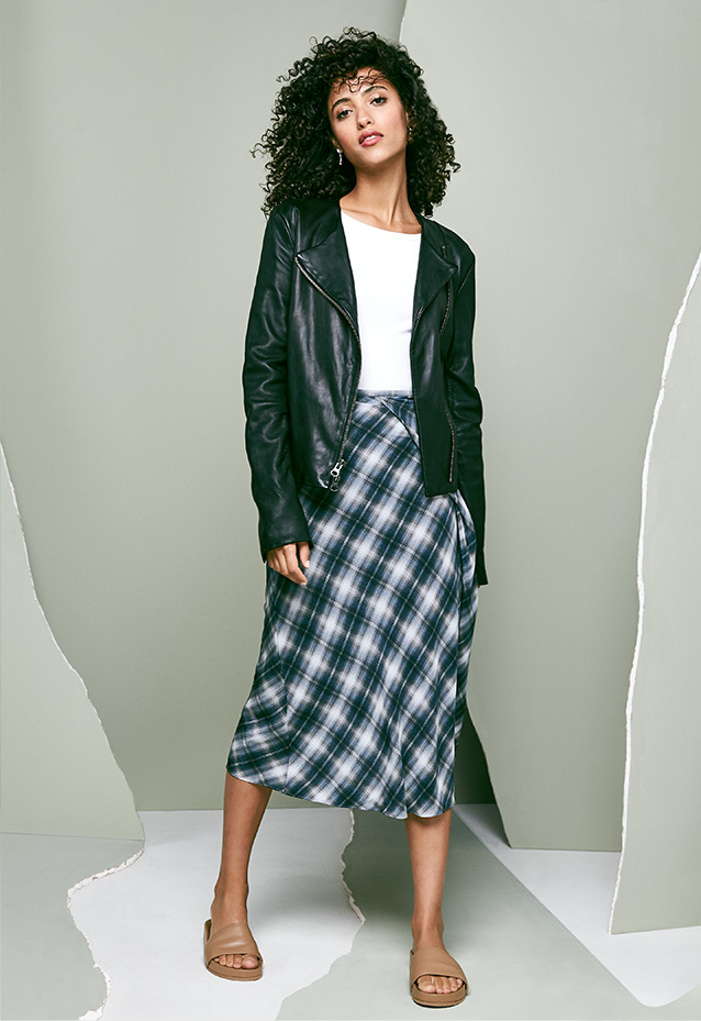 Leather Jacket, Ribbed Bodysuit + Plaid Midi Skirt