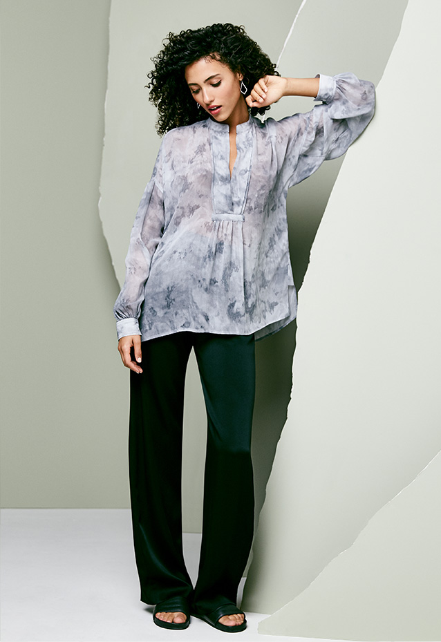 Marbled Silk Blouse + Straight-Leg Satin Pants