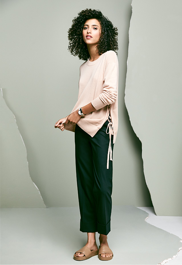 Side-Tie Cashmere Sweater + Cropped Pants