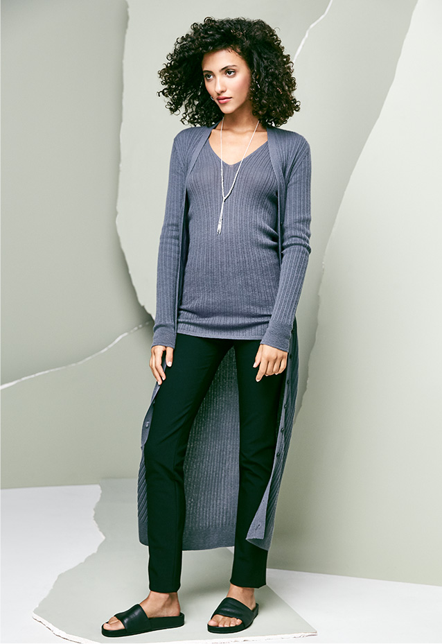 Ribbed Cashmere Cardigan, Sweater + Stretch Leggings