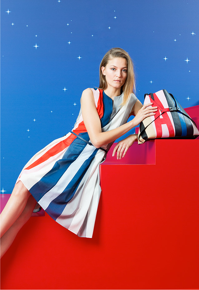 Logo-Print Leather Tote + Striped Dress