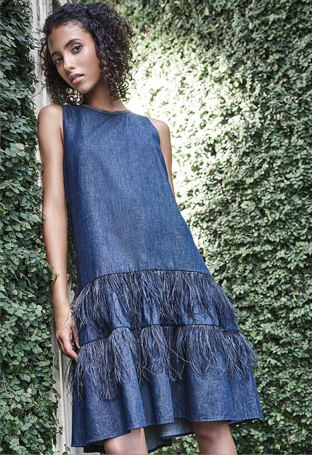 Feather-Trim Denim Dress