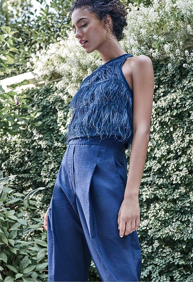 Jumpsuit with Ostrich Feather Top