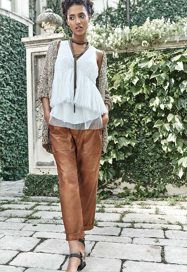 Cardigan, Pleated Tulle Top, Cropped Pants + Monili Lariat Necklace