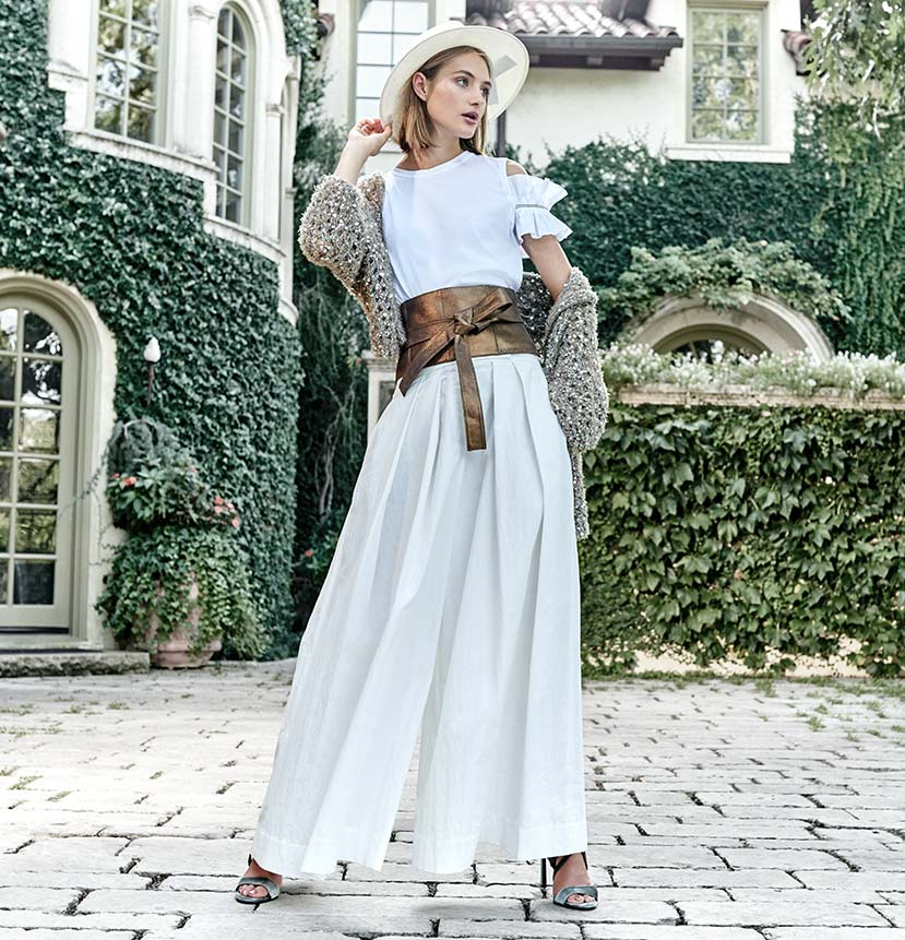 Hooded Jacket, Cold-Shoulder Tee, Wide-Leg Pants, Corset Belt + Straw Fedora