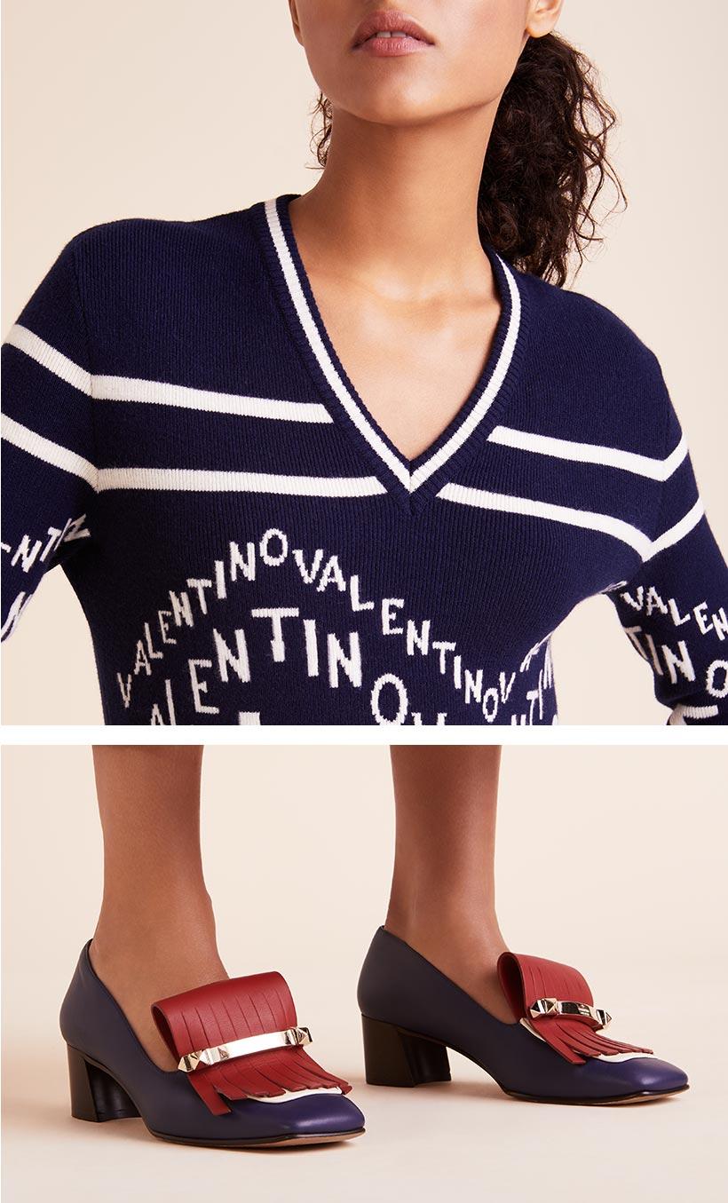 0649a4b39b04a2 ... V-Neck Chevron-Logo Wool-Cashmere Sweater ...