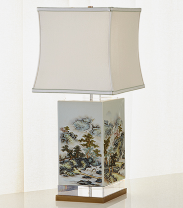 John-Richard Collection White & Green Forest Table Lamp