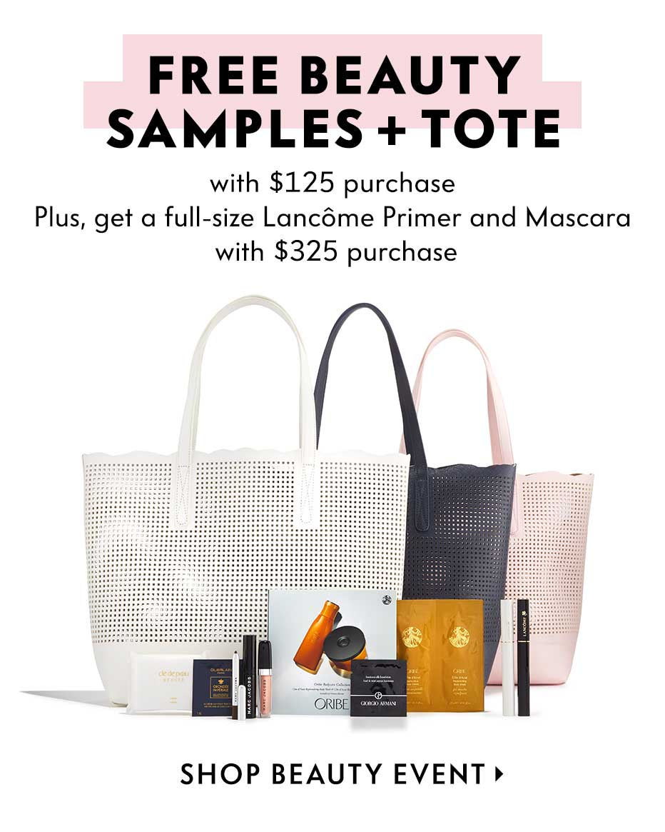 Free beauty samples + tote with $125 purchase - Plus, get a full-size Lancome Primer and Mascara with $325 purchase