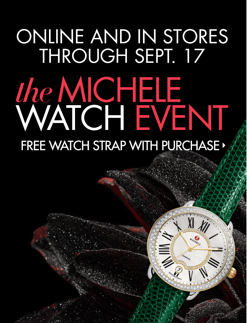 Free watch strap with your select purchase of a Michele watch head