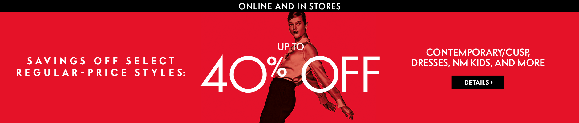 Up to 40% off for her