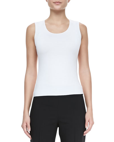 Scoop-Neck Stretch-Jersey Tank, White