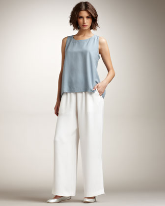 Wide-Leg Silk-Crepe Trousers