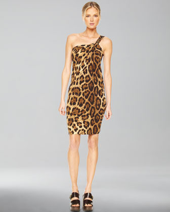 One-Shoulder Dress, Leopard Print