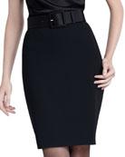 Crepe Marocain Pencil Skirt