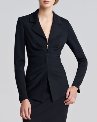Milano Knit Ruched Zip-Front Jacket
