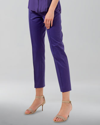 Franca High-Waist Cropped Pants, Lavender
