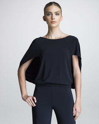 Batwing-Sleeve Blouson Top