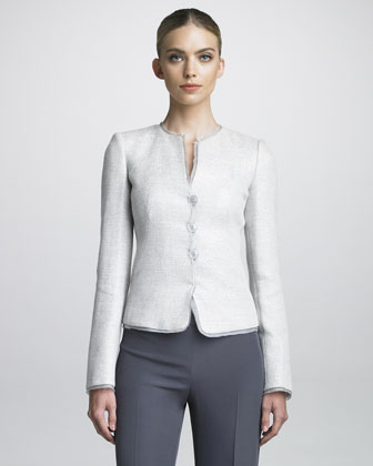 Organza-Trimmed Tweed Jacket