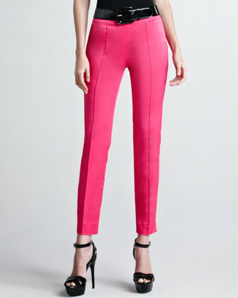 Farren Cotton Sateen Pants, Hot Pink