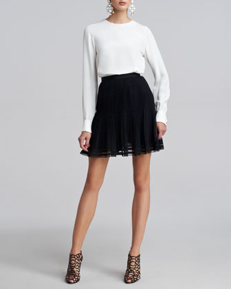 Pleated Lace-Trim Skirt