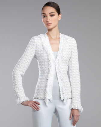 Shredded Tweed Jacket, Cream