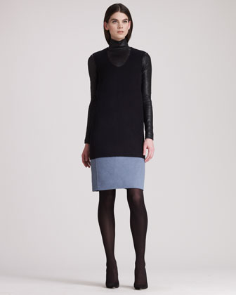 Colorblock Sleeveless Wool Dress