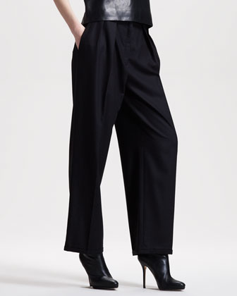 Wide-Leg Flannel Pants