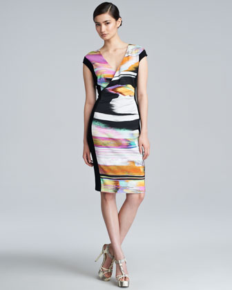 Darlita Printed Cap-Sleeve Dress