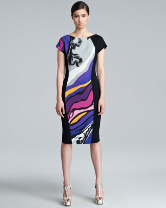 Dhoudas Printed Cap-Sleeve Dress