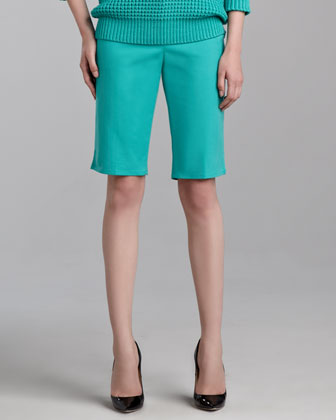 Emma Stretch Cotton Bermuda Shorts, Jade
