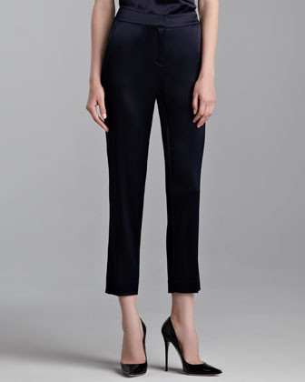 Emma Liquid Satin Cropped Pants, Navy