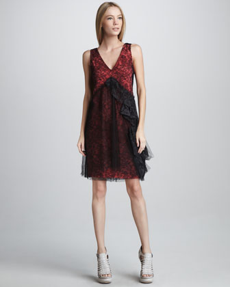 Chantilly Lace Shift Dress, Red/Black