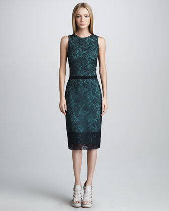 Chantilly Lace Shift Dress, Navy