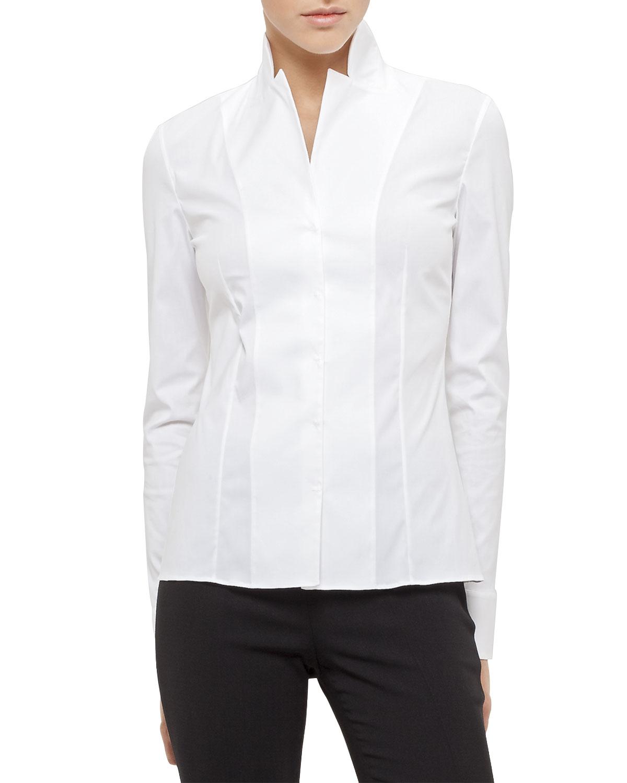 Long-Sleeve Notched-Collar Poplin Blouse