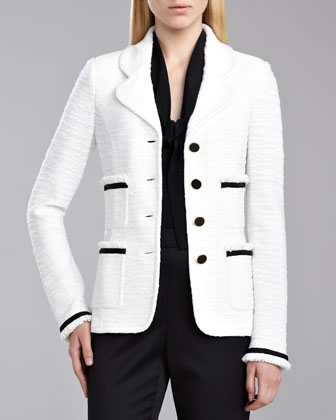 Grosgrain Ribbon Shantung Jacket, White/Caviar