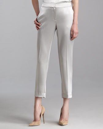 Emma Liquid Satin Cropped Pants, Limestone
