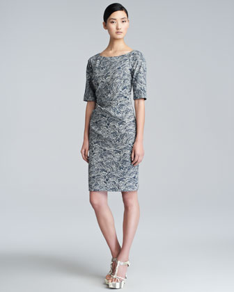 Rose-Print Stretch-Cotton Dress