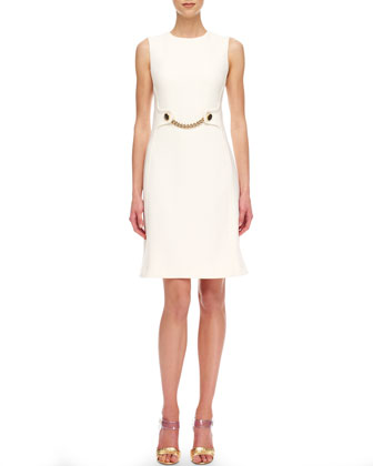 Chain-Front Crepe Sheath Dress
