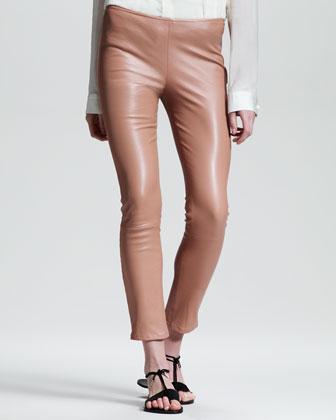 Shiny Stretch-Leather Leggings