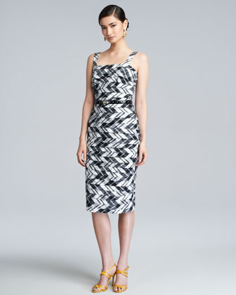 Plaid Taffeta Shantung Dress, Black/White