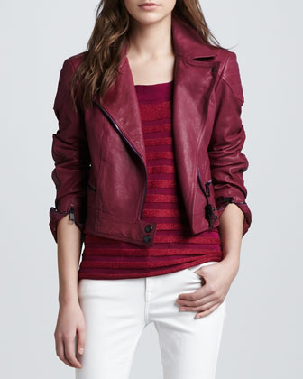 Quilted-Shoulder Leather Biker Jacket