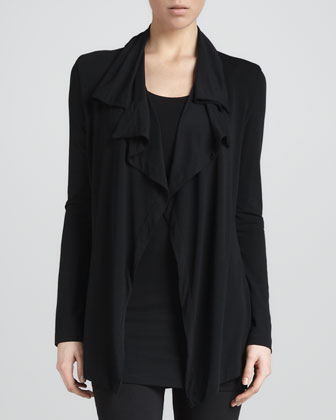 Flutter-Front Cardigan Jacket, Black
