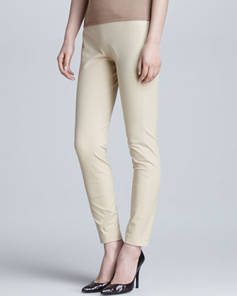 Sheryl Stretch Wool Straight-Leg Pants, Burlap