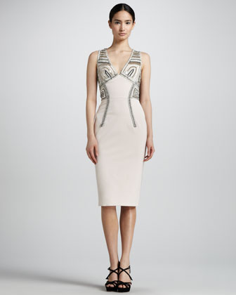 Embroidered V-Neck Sheath Dress, Blush
